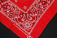 Vintage Red Paisley Bandana Handkerchief 100% Cotton USA Face Mask #17
