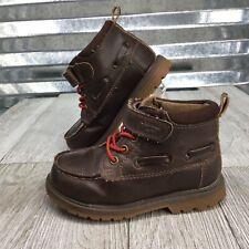Oshkosh B'gosh Brown Boys Ankle Boots Hook & Loop Slip On Moc Toe Shoe Size 7C