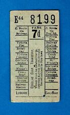 Isle of Man Bus Ticket ~ Douglas Corporation - 1944 Bell Punch Ticket - Fare 7d