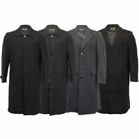 Mens Wool Mix Jacket Long Trench Coat Collared Concealed Button Lined Winter New
