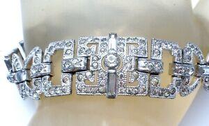 Coro Art Deco Bracelet with Clear Rhinestones Designer Signed Rhodium Plated W