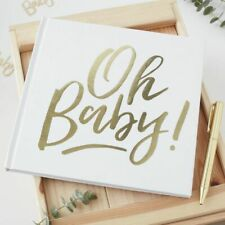BABY SHOWER- BIRTH- CHRISTENING- BIRTHDAY- GUEST BOOK GOLD SCRIPT BLANK PAGES