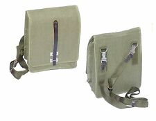 1980s EX-ARMY CROSS BODY SHOULDER BAG CANVAS & LEATHER GREEN WARSAW PACT VINTAGE