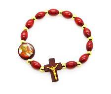 Pope Saint John Paul II Wood Rosary Stretch Bracelet - NEW