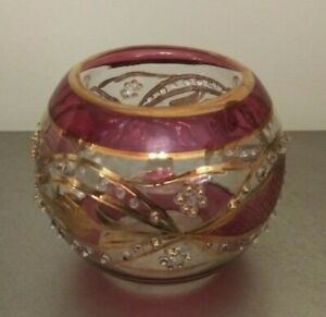 Egyptian Glass Red And Gold Votive Tealight Candleholder