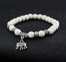 6MM Howlite Tibet silver elephant pendant bracelet Sutra Wrist Bead pray