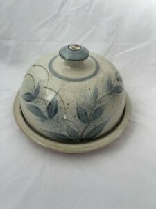 Hand Painted Pottery Cheese Plate and Dome