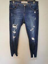 Ladies SIZE 16 casual dark blue denim distressed ripped skinny jeans (D412)