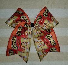 """8"""" Flamin' Hot Cheetos Cheer Bow, Flaming Hot Hair bow, Orange, yellow, black"""