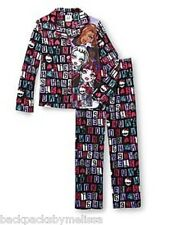 MONSTER High Fleece Pajamas Girl's 6/6x NeW Button Down Shirt Pants Winter Pjs