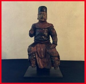 statua in legno antica  statuina lignea dinastia Ming arte e antiquariato cinese