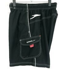 Speedo Black Board Water Shorts Mens M Medium Black White Stitching Swim Trunks