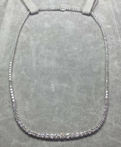Necklace Tennis White Gold 18kt. with Natural Diamonds Ct. 9,96 F VVS