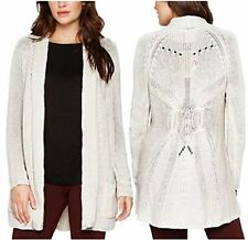 NEW Matty M Women's Wool Blend Crochet Open Front Cardigan Sweater Oatmeal L