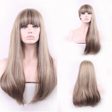 "27"" Long Straight Light Blonde Mixed Ash Brown Girl Full Wig Cosplay Hair Girl"