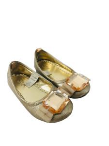 Baby Gap Toddler Shoes Fancy Ballet Flat Gem Metallic Gold 2 Years Girls Sz 8