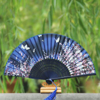 Butterfly and Flower Hand Held Silk Bamboo Japanese Folding Fan NT