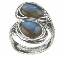 OR PAZ STERLING SILVER TEARDROP-SHAPED LABRADORITE BYPASS RING SIZE 6 QVC $71.00