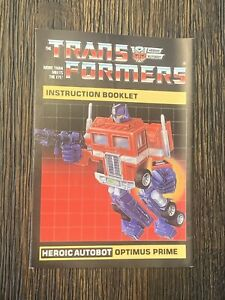 Transformers G1 Autobot Optimus Prime Instruction Booklet   (Original)
