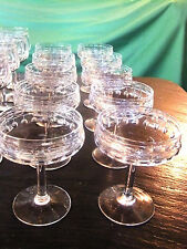 lot de 10 coupes à champagne en cristal Taillé Art-Déco de VAL-SAINT-LAMBERT