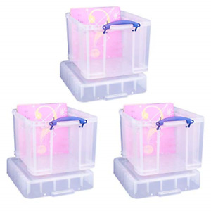 Really Useful 35 Litre XL Storage Box, Clear, Pack of 3