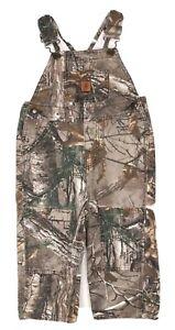 Carhartt Real Tree Camo Bib Overall Cotton Reinforced Knees Boys Size 2T EUC