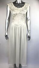 Vintage 90s Victoria's Secret Night Gown Sheer Lace Beige Open V Back Small