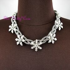 Silver Deco Popcorn Metal Lace Mesh Floral Flower Braid Garland Crystal Necklace