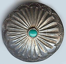 VINTAGE NAVAJO INDIAN SILVER & TURQUOISE STAMPED FLOWER DESIGN BUTTON
