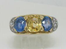 Saphir Ring 750 Gelbgold 3 natürliche Ceylon Saphire  6 Brillanten  Zertifikat