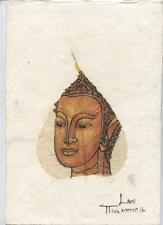 Original Ink and Oil with Bodhi Leaf   Buddha Image    Vientiane Laos       BL16
