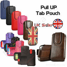 SOFT LEATHER PULL UP TAB CASE POUCH SLEEVE COVER SOCK FOR SAMSUNG GALAXY S8 S6