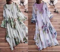Womens Summer Tunic Tops Ladies Long Sleeve Loose T-Shirt Blouse Plus Size 16-28
