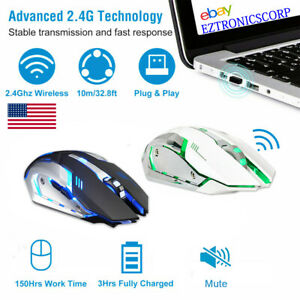 LED Wireless Mouse, Rechargeable Wireless Silent Mouse,Optical Computer Mouse