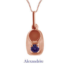 Round Purple Alexandrite Baby Bootie Pendant Necklace 10K Solid Rose Gold