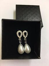 Beatiful Swarovski Elements with natural pearl drop earrings-silver *Gift Box