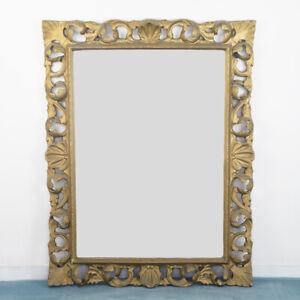 Specchio a parete rettangolare legno dorato design anni '70 vintage modernariato