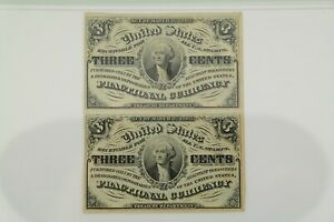 3 Cent Third Issue Fractional Currency Uncut Pair Light Background PMG AU 55