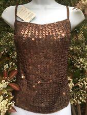 New_Gorgeous_Sequined Crochet Open Back Top_Metallic Cooper Bronze color_Size L