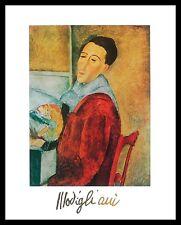 Amedeo Modigliani Selbstportrait Poster Bild Kunstdruck im Alu Rahmen 30x24cm
