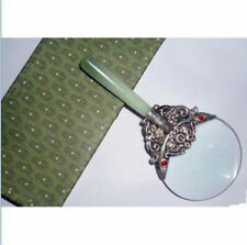 Rare Chinese Tibet silver & jade Magnifying Glass
