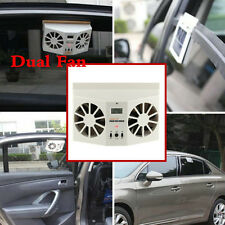 Ivory Car Solar Powered Auto Window Ventilator Cooler Air Vent Cool Fan Radiator