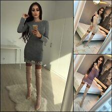 Women Mini Dress Lace Plain Long Sleeve Crew Neck Slim Fit Club Dresses Outdoor