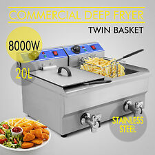 20L Commercial Electric Stainless Steel Deep Fryer with Oil Drain Tap 8000W