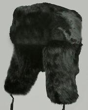 Mil-Tec Wintermütze mit Webpelz Schwarz Pelzmütze Ledermütze Mütze Fellmütze S-L