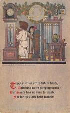 MERRY CHRISTMAS Children & Grandfather Clock Xmas Vintage Postcard 1910?