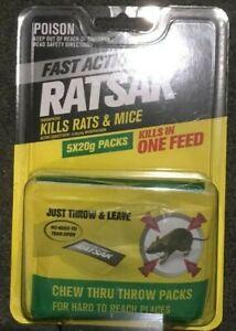 Ratsak RAT & MOUSE Baits ONE FEED KILL 5 x 20g THROW PACKS - FREE SHIP in Aust