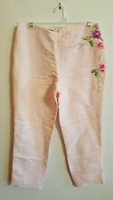 Emporio Armani Pink, Linen, Rayon, Embroidered, Cropped Pant...44...NWT $348.00
