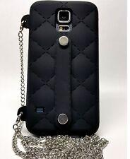 CELLFIE Samsung Galaxy s5 Crossbody Case 48 inch Silver Chain (Black)