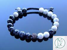 Feng Shui Black Micro Pave Natural Gemstone Bracelet 7-8'' Macrame Healing Stone